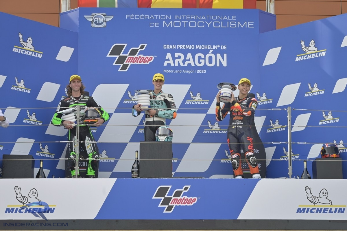 Moto3 podium Binder Masia and Fernandez